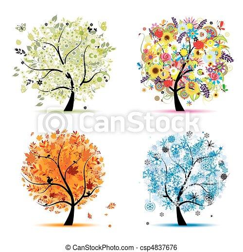 winter., 美しい, 芸術, 春, 秋, -, 木, 4, デザイン, 季節, あなたの, 夏 - csp4837676